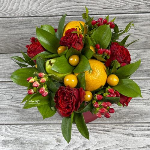Цветочная композиция с фруктами «Тамара»