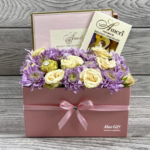 Подарочный набор с цветами «Счастье»