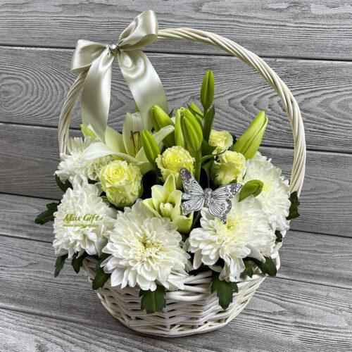 Корзина с цветами «Серебряная свадьба»