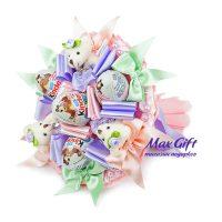 """Купить букет из конфет и мягких игрушек """"С днем рождения"""" мини"""