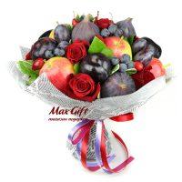 """Букет из фруктов и цветов """"Бархатный сезон"""""""