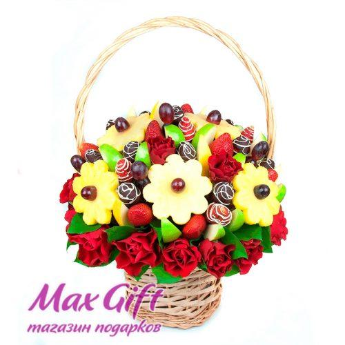 """Фруктовый букет с цветами """"Торжественный"""""""