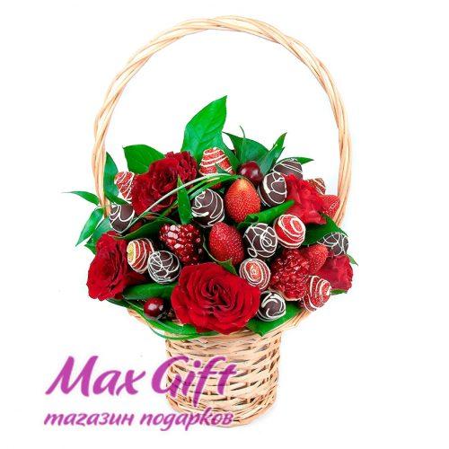 """Фруктовый букет с цветами """"Кармен"""""""
