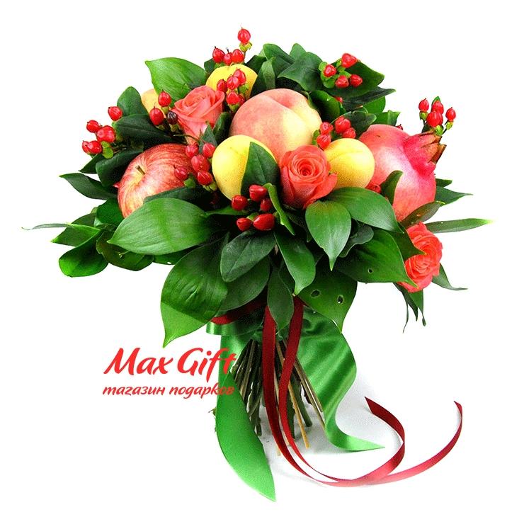 Фото букетов из фруктов и цветов
