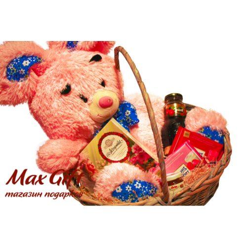 """Подарочная корзина """"Розовый зайка"""""""