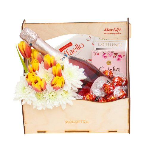 Подарочный набор с живыми цветами «Воспоминание»