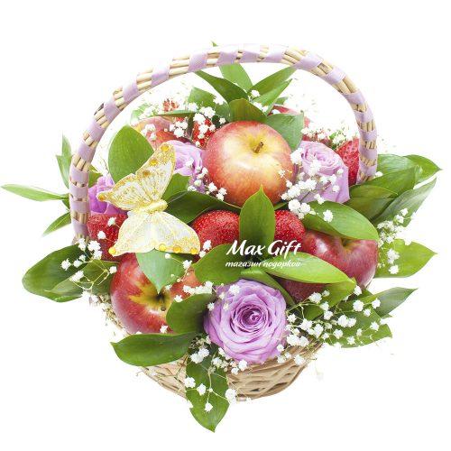 Фруктовая композиция с цветами «Перед рассветом»