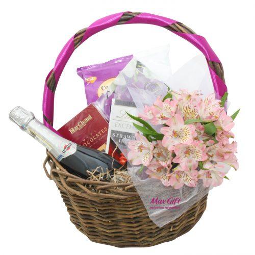 """Подарочная корзина с цветами """"Альстромерия"""""""