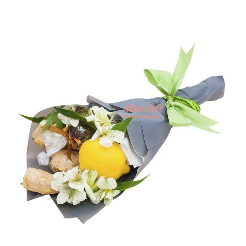 Фруктовый букет с цветами «Чайный комплимент»