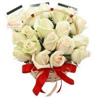 Подарочная корзина с цветами «Белый танец»