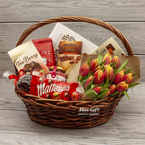 Подарочная корзина с цветами «Весенняя»