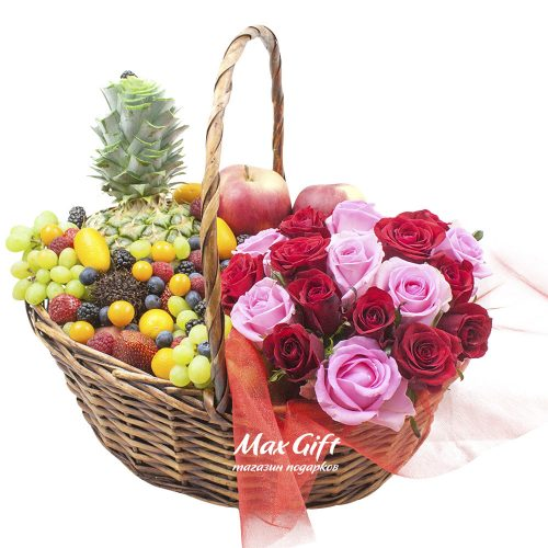 Фруктовая корзина с цветами «Вокруг света»