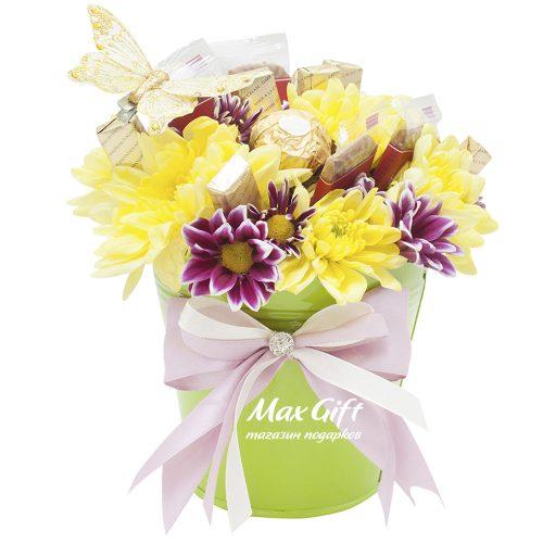 Подарочная композиция с цветами «Солнечная поляна»