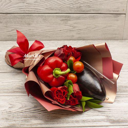 Букет из овощей и цветов «Овощной комплимент»
