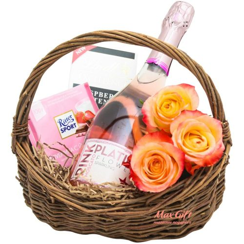 """Подарочная корзина """"Platino pink"""""""