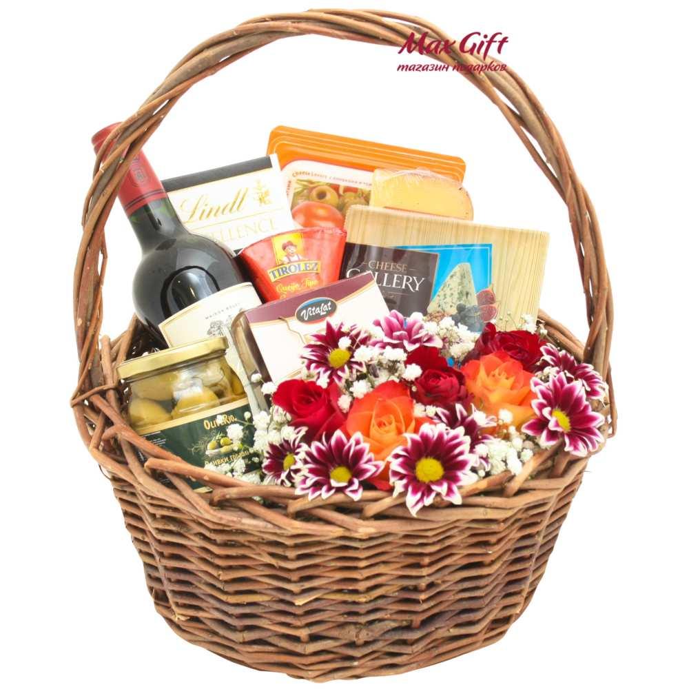 """Подарочная корзина с цветами """"Хризантема"""""""