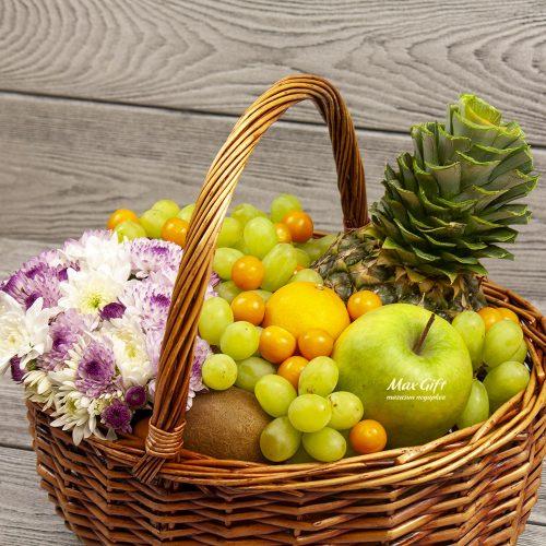 Фруктовая корзина с цветами «Цветочная фрутти»