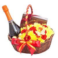 Подарочная корзина с цветами «Осень»