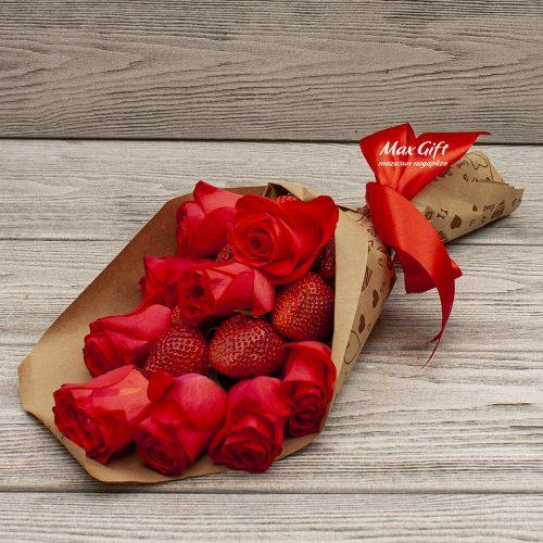 Фруктовый букет с цветами «Комплиментик»
