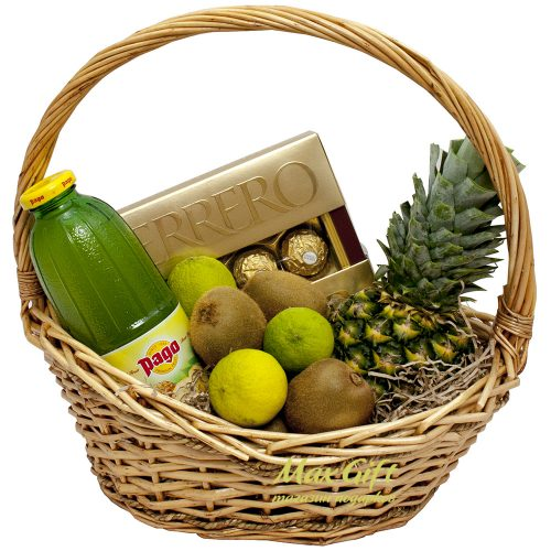 Подарочная корзина с фруктами «Ананасовый бум»