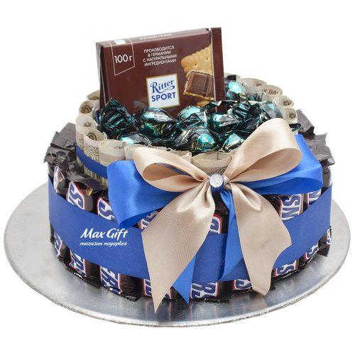 Торт из конфет и денег «Сникерсни»