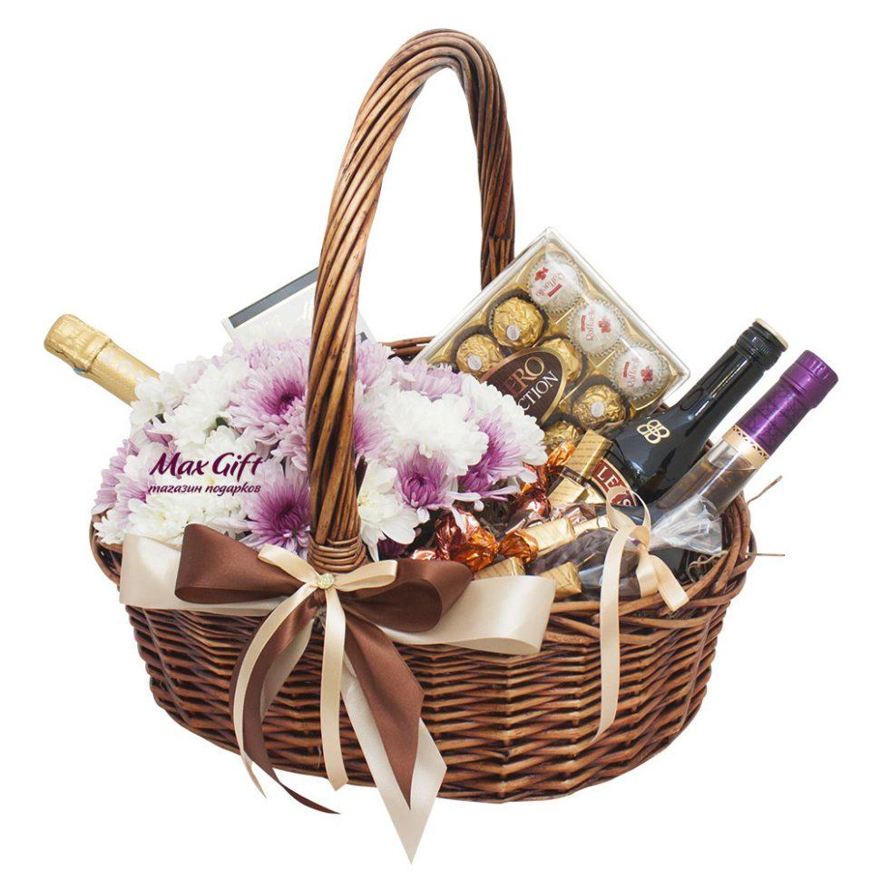 Подарки в корзинках недорого 835