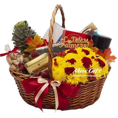 Подарочная корзина с фруктами и цветами «Благодарность учителю»