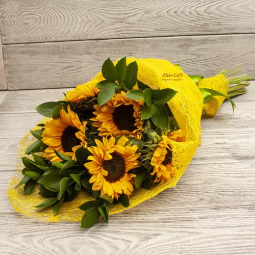 Букет из цветов «Подсолнуховое поле»