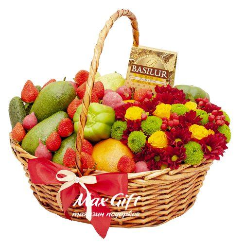 """Подарочная корзина с овощами и фруктами """"Осенний вальс"""""""