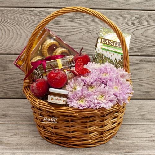 Подарочная корзина с цветами «Цветочный джем»