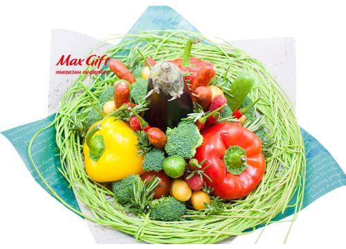 Букет из овощей, колбасы и сыра «Светофор»