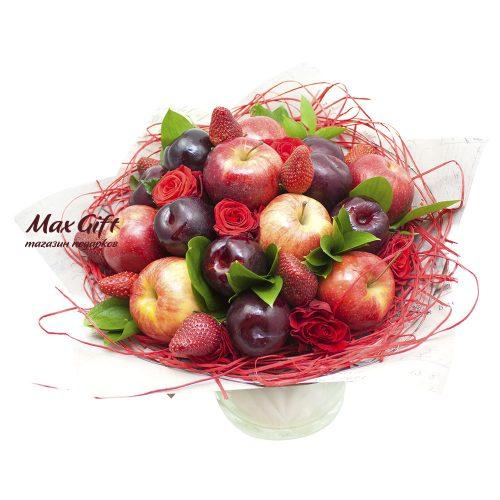 Букет из фруктов и цветов «Бархатный сезон»