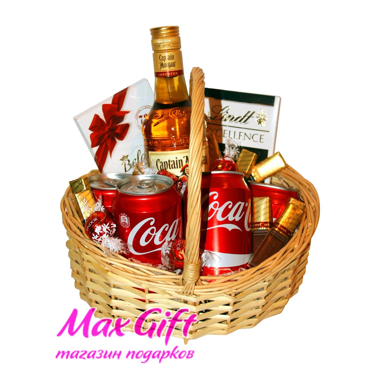 Корзина с алкоголем в подарок мужчине 65