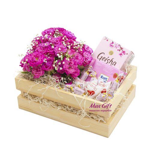 Подарочный набор с цветами «Нежнее нежности»