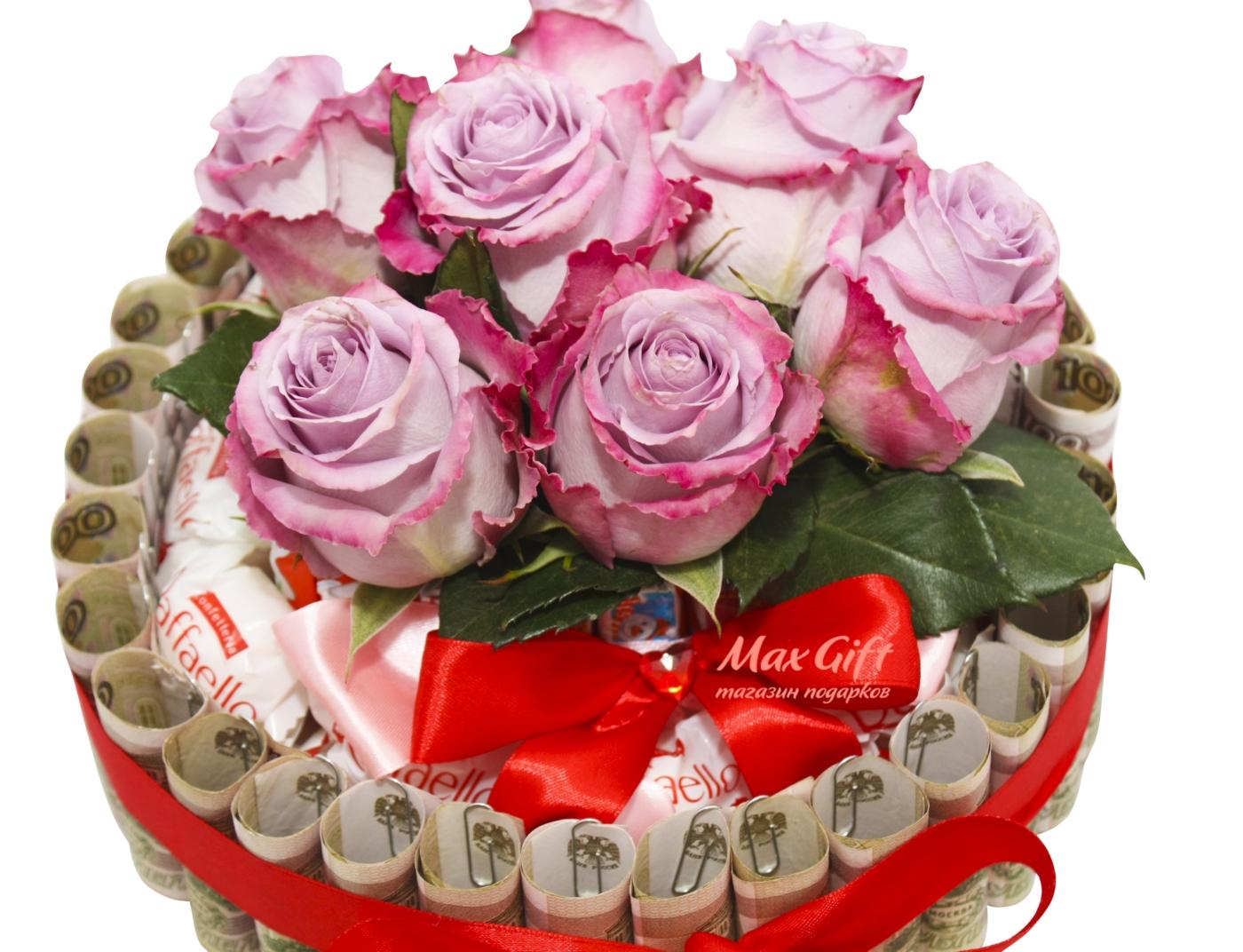 Открытка торт из цветов