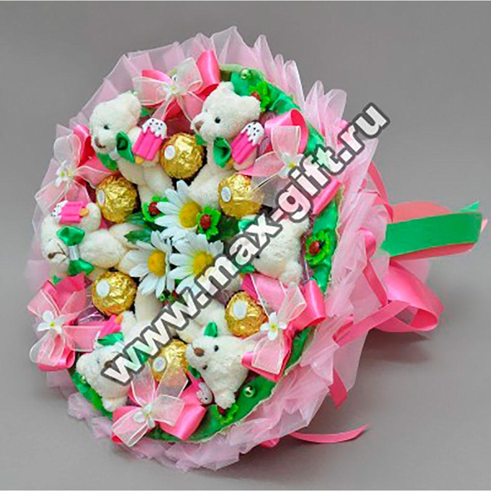 Фото букеты из конфет и игрушек своими руками пошаговое фото 49