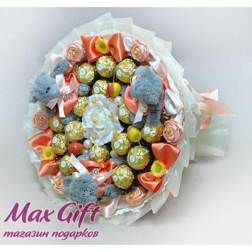 """Букет из конфет и мягких игрушек """"Модницы"""" 2"""